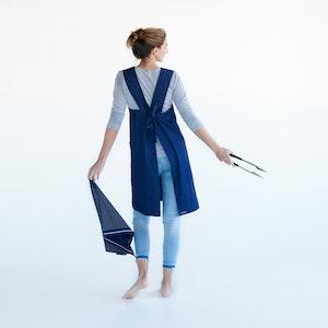 Apron Kitchen Joy, 100% Organic Denim, with simple size adjustable tie at back