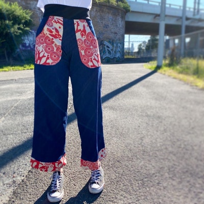 Woven by Society Custom Denim Pants with Pockets and Cuffs