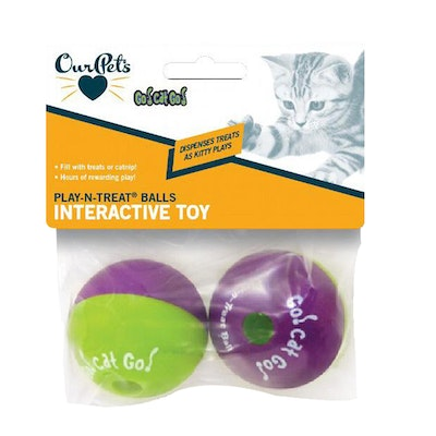Our Pets Go Cat Go Play-N-Treat Balls Interactive Cat Toy 6cm 2 Pack