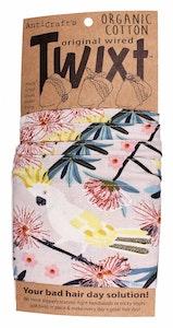 Cockatoo & Wildflowers on Grey - organic cotton - Twixt / Wired Head Wrap