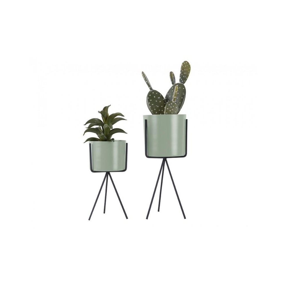 Pretty Cactus Plants  Metal Planter On Pedestal - Small - Grayed Jade - 9.5cm Diameter