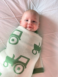 100% PURE Australian Merino Leroy Mac Designs Green Tractor Blanket/Throw
