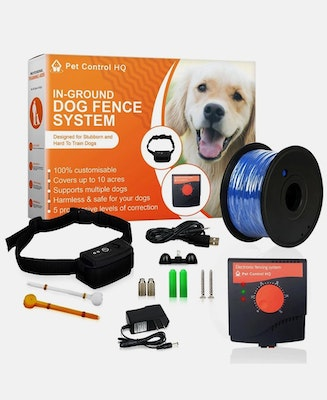 Pet Control HQ Waterproof Rechargeable Electric Dog Fence with 1 Collar