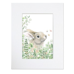 Forest Flowers Bunny Print - Mounted in 20cm x 25cm Mount mat