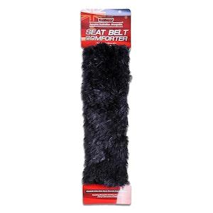2 X Genuine Sheepskin Seat Belt Pads Shoulder Pad 26Cm Long Black