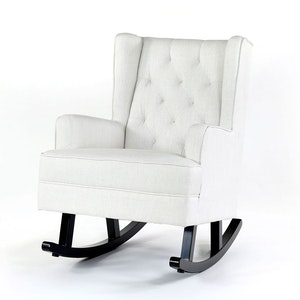 Isla Wingback Rocking Chair Linen White Black Legs