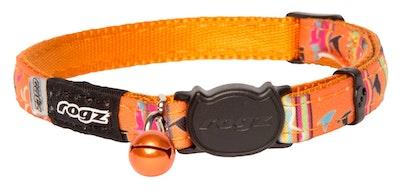 Rogz Neocat Safeloc Collar Orange Candy Stripe 11mm