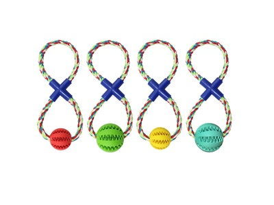 DoggyTopia Enrichment Treat Ball Rope Tug Toy