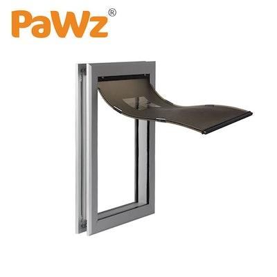 PaWz Aluminium Pet Access Door Dog Cat Dual Flexi Flap For Wooden Wall S
