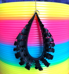 Spliced Eco Fashion Vegan Black Handmade recycled bicycle inner tube earrings.