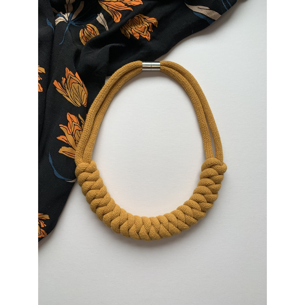 Form Norfolk Snake Knot Necklace In Mustard Yellow