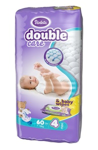 DOUBLE CARE 7-18KG NAPPIES SIZE 4-5 PACK OF 60 WITH FREE BABY Wipes