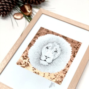 Framed A4 'Lion' Limited Edition Print with Hand-Applied Gold-Leaf Metals.