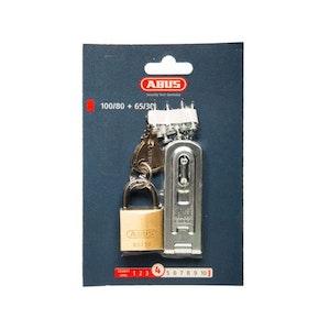 ABUS 100/80 Hasp, Staple and 65/30 Padlock Combo Pack