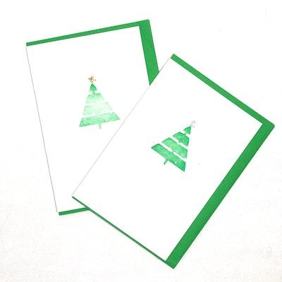 Karhina Seasonal Green Christmas Tree Greeting Card