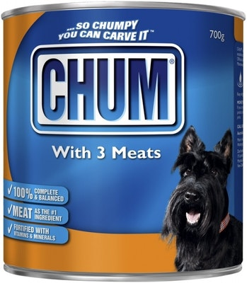 Chum With 3 Kinds Meat Adult Dog Food 700g x 12