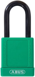 ABUS 74/40 Lock Out Tag Out (LOTO) lightweight aluminium padlock with green vinyl encased body keyed to differ