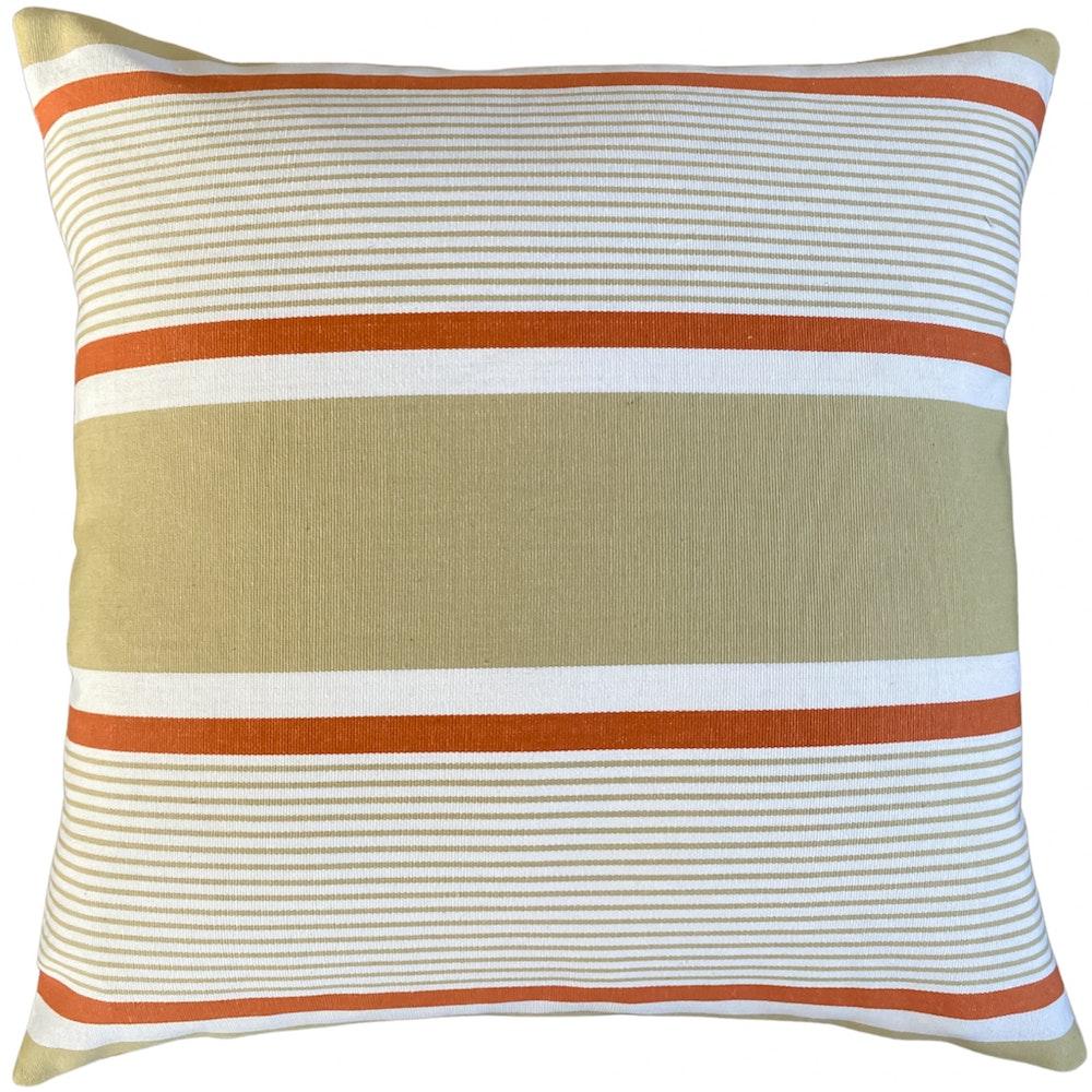 The Cushion Maven Handmade Cushion In A White & Copper Stripe