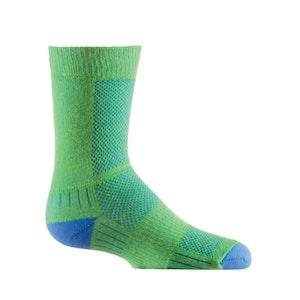 Wrightsock Blister-free Kids Coolmesh II - Crew Socks - Green/Blue