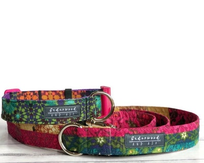 Cedarwood and Ash Handmade Colourfully Unique Fabric Dog Collar and Leash Set (This listing is for a collar and leash SET, the Dog Collar ONLY is available in a separate listing)