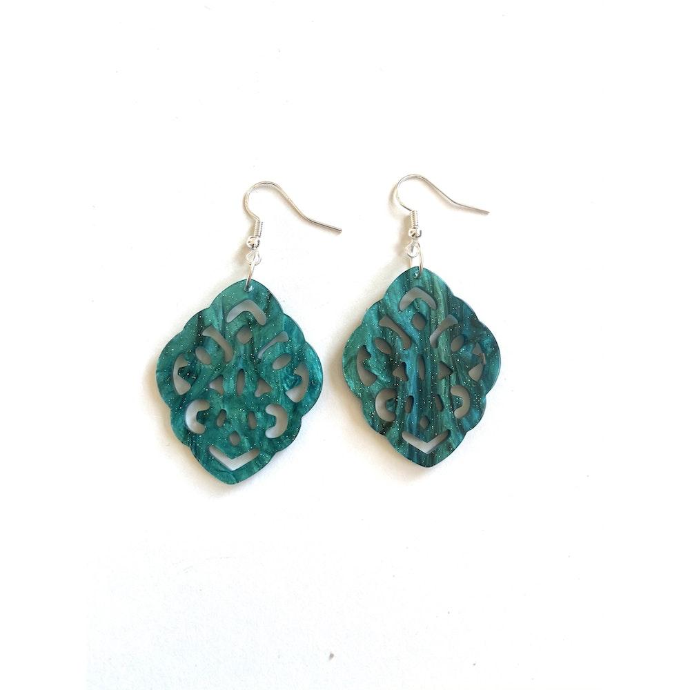One of a Kind Club Green/blue Resin Shaped Earrings