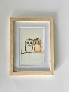 "Art'N Green Tasmanian Masked Owls Art Print - A5 Print on Cordyline Handmade Paper, Framed 4x6"" Oak-like."