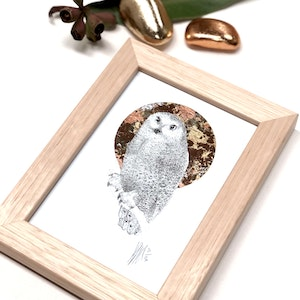 Framed A6 'Owl' Limited Edition Print with Hand-Applied Gold-Leaf Metals.