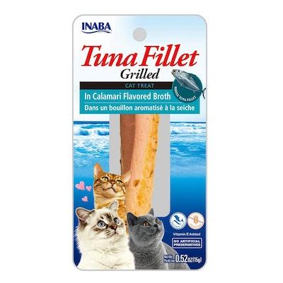 INABA Tuna Fillet Grilled Cat Treat in Calamari Flavored Broth 6 x 15g