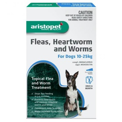 Aristopet Animal Health Fleas, Heartworm And Worms For Dogs 10-25Kg (3 packs)