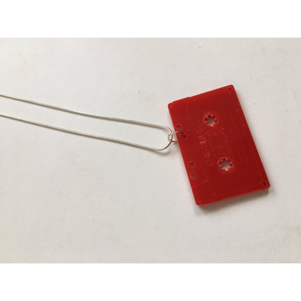One of a Kind Club Red Tape Acrylic Necklace