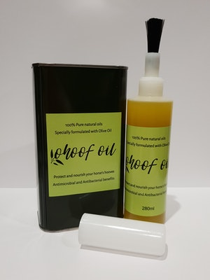 Horse and Olive Co  Refill combo package - Bottle brush 280ml plus 1 litre refill ohoof oil
