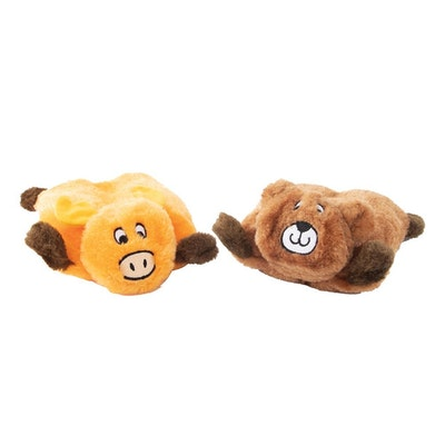 Zippy Paws Squeakie Pads Bear & Moose No Stuffing Plush Dog Toy 2 Pack