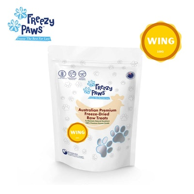 Freezy Paws Freeze-Dried Chicken Wing Raw Treats for Pet Cat Dog 100g