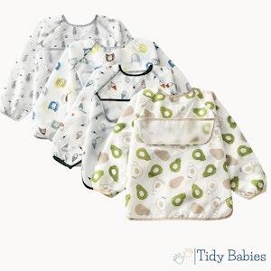 Tidy Babies  Baby Long Sleeve Apron Smock Bib With Name Print