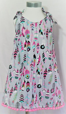 Handgrown Threads Dress - Size 2 - Colourful Feathers