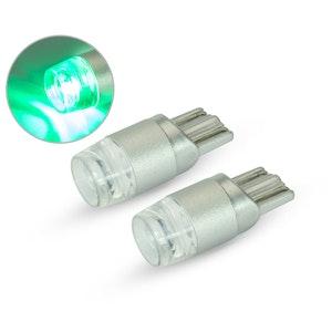 Pair T10 W5W 12V LED Projector Bulbs - Green
