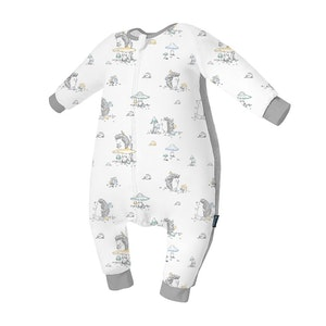Domiamia Silky Bamboo Long Sleeve Sleepsuit with Stretchy Side Panel- Mr. Hedgehog (1.0 Tog)