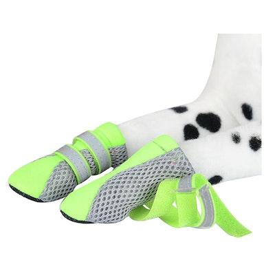 Zeez Dog Fashion Mesh Boots Non-Slip Sole Dog Boots Green - 4 Sizes