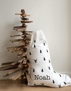 Santa Stocking Reindeer & Trees - Plain Font