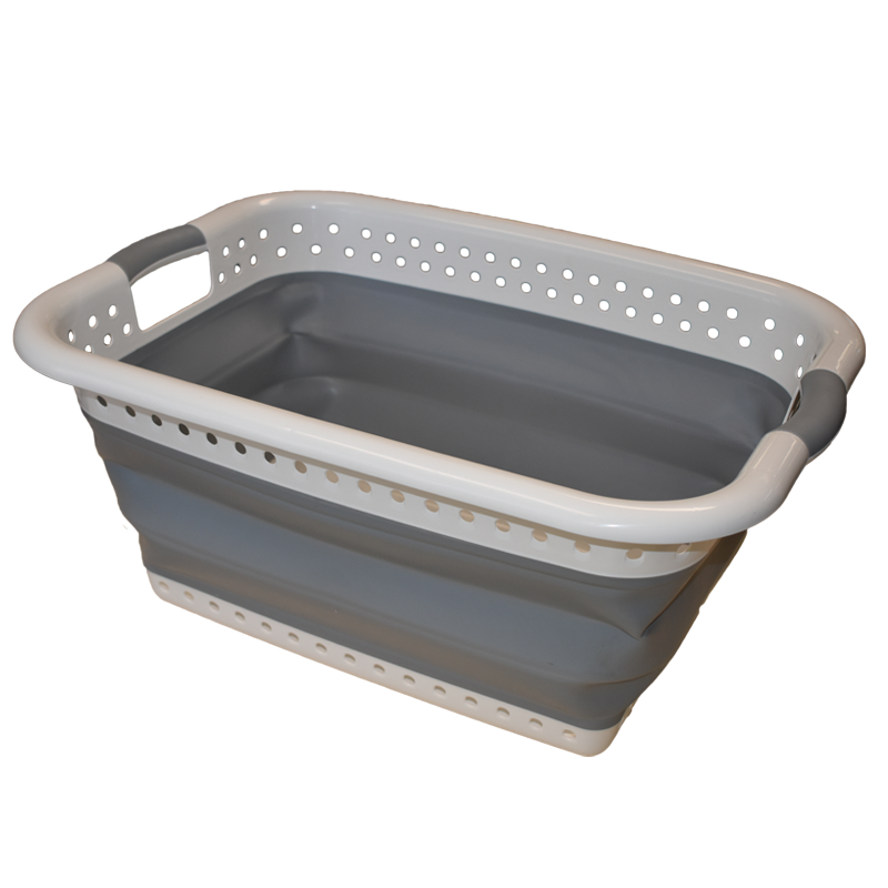 COLLAPSIBLE LAUNDRY BASKET This Space Saving Laundry Basket will make doing laundry a breeze and its collapsible nature allows for easy, space saving  Dimensions:  Collapsed height:80mm Open height: H270mm x W450mm x D610mm