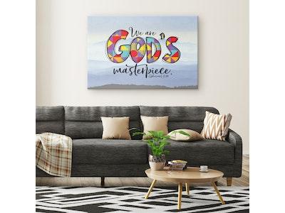 "Art Of A Kind God's Masterpiece Bible Verse Canvas Art Print 16x24"""