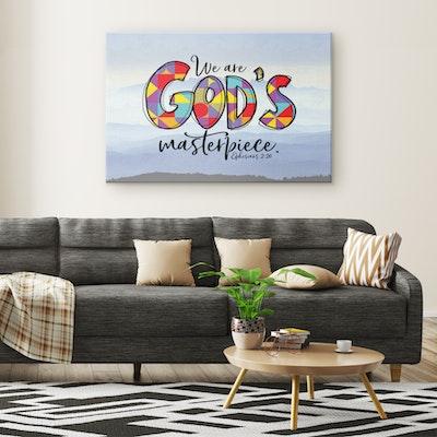 "Art Of A Kind God's Masterpiece Bible Verse Canvas Art Print 24x36"""