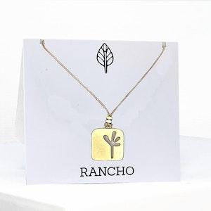 Large Square Seedling Pendant Necklace