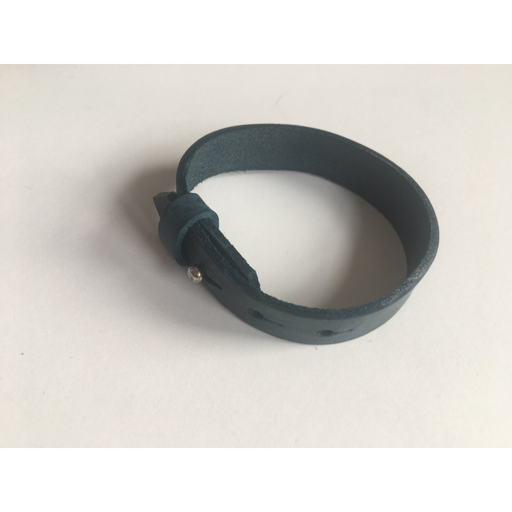 One of a Kind Club Blue Wide Leatherette Bracelet