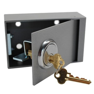 ADI security wall mounted key or card security box keyed to the OLD Energy NMB master key in silver finish