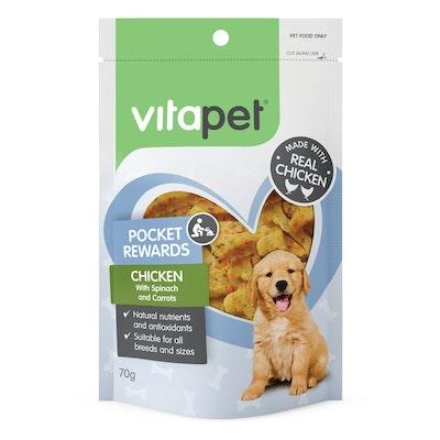 Vitapet Pocket Rewards Chicken & Vegetable Bones Dog Treats 70g