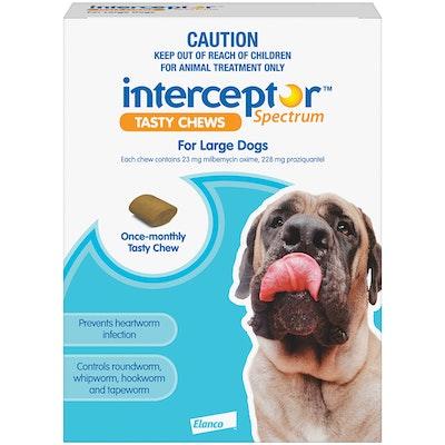 Interceptor Spectrum 22+ Kilos Large Dogs Tasty Treat Blue Chew - 2 Sizes