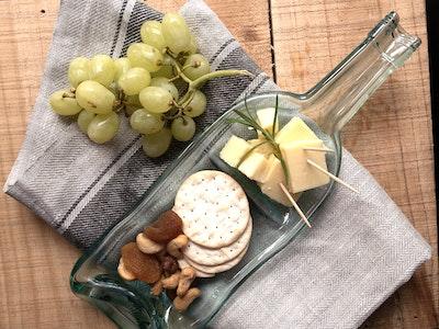 Upcycled wine bottle platter   Dip dish