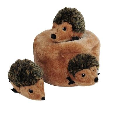Zippy Paws Zippy Burrow Hedgehog Den Plush Dog Squeaker Toy 16 x 10cm
