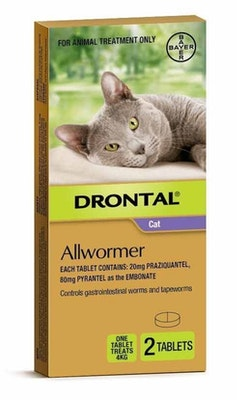Drontal Tablet Allwormer for Cats & Kittens 4kg - 3 Sizes